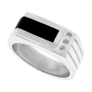 Sterling Silver Mens  Black Onyx Ring